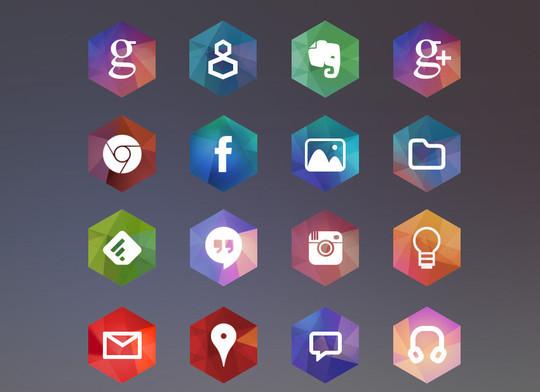 12 Free Hexagon Icon Sets & Photoshop Files 2