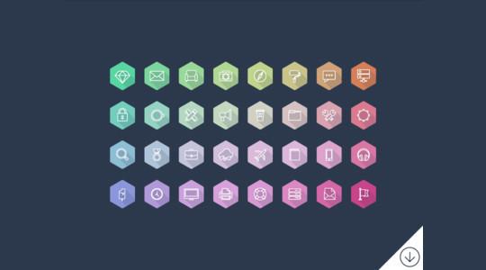 12 Free Hexagon Icon Sets & Photoshop Files 7