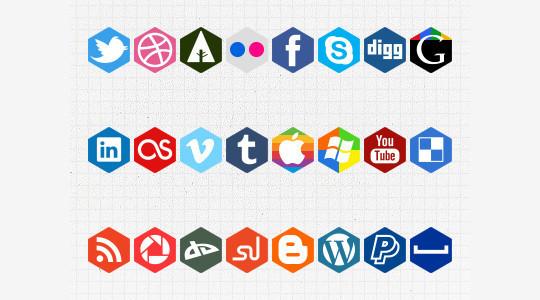 12 Free Hexagon Icon Sets & Photoshop Files 11
