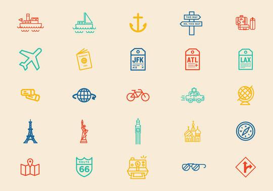 13 Tourism & Travel Icon Set For Free Download 13