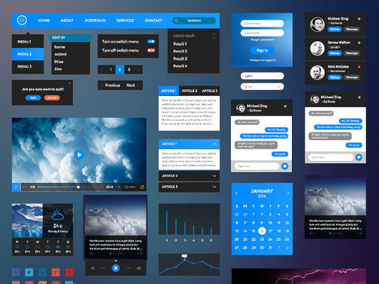 11 Dark UI Concepts (PSD) For Your Design 11
