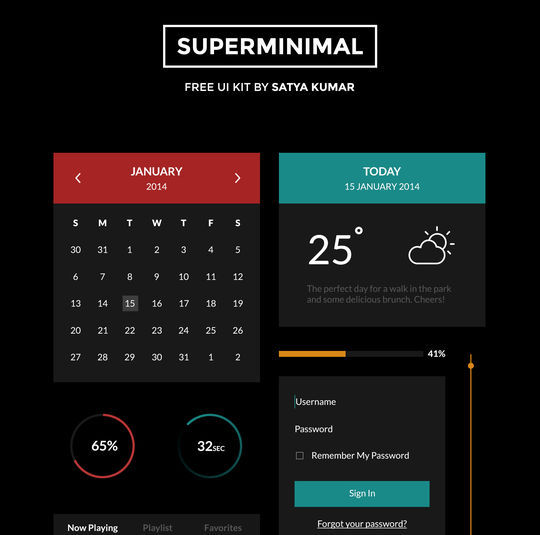 11 Dark UI Concepts (PSD) For Your Design 45