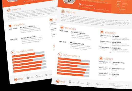 14 Free Simple Resume PSD Mockups & Templates 2