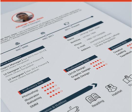 14 Free Simple Resume PSD Mockups & Templates 8