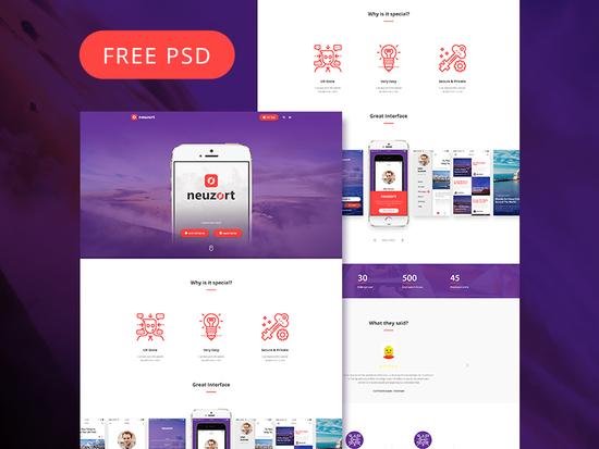 8 Fresh & Free Mobile App PSD Templates 3