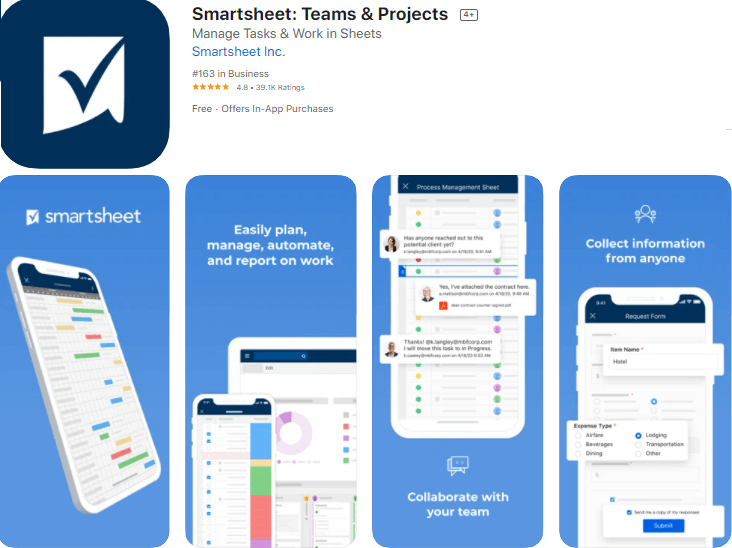 smartsheet best apps for ios