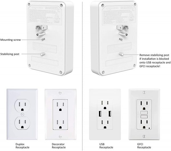 6 outlet, Wall Mount Surge Protector