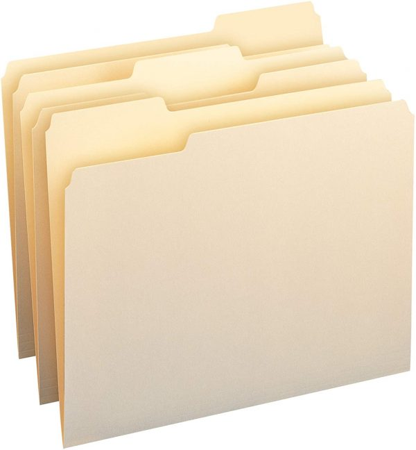 File Folders Letter Size 1/3-Cut Tab Assorted Positions 1