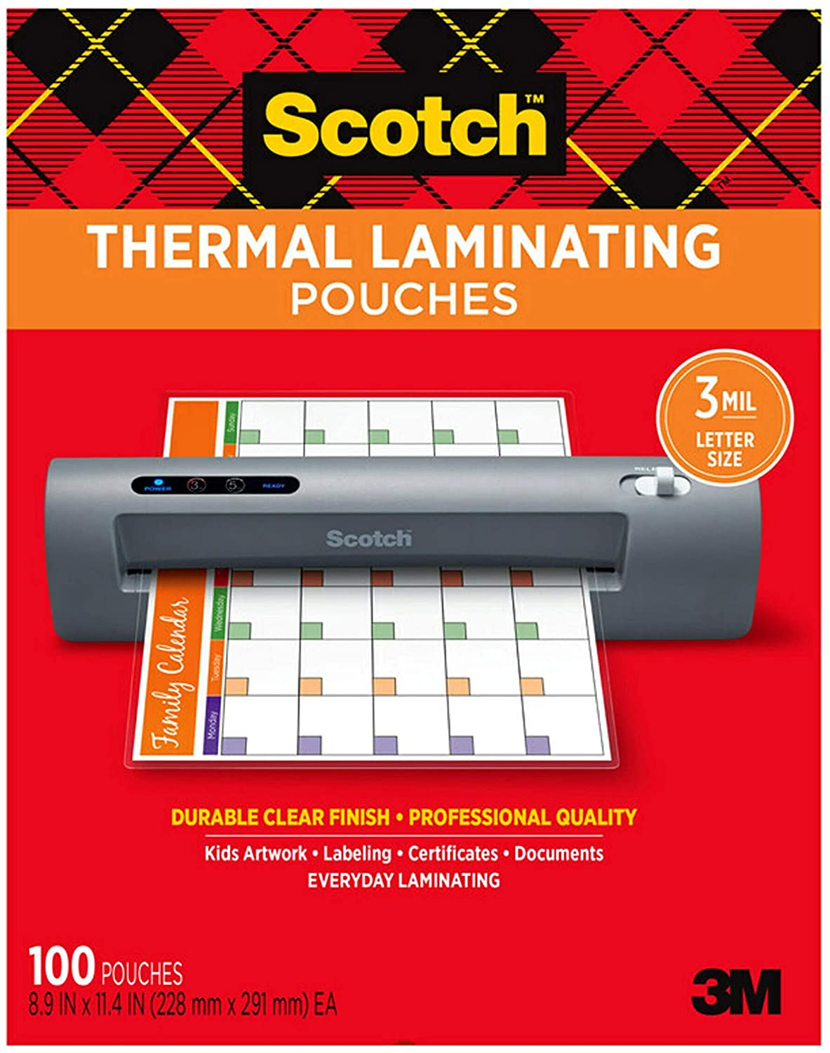 Scotch Thermal Laminating Pouches, 8.9 x 11.4 Inches