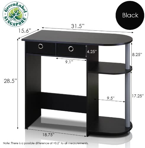 Furinno Computer Desk with 2 Drawers - Smart Laptop Table 2
