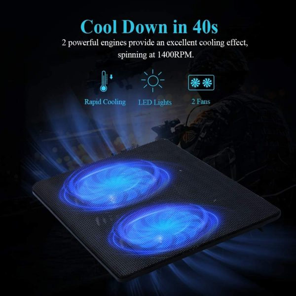 """FLAGTOP Laptop Fan Cooling Pad Compatible with 14 - 15"""" Laptop 2"""