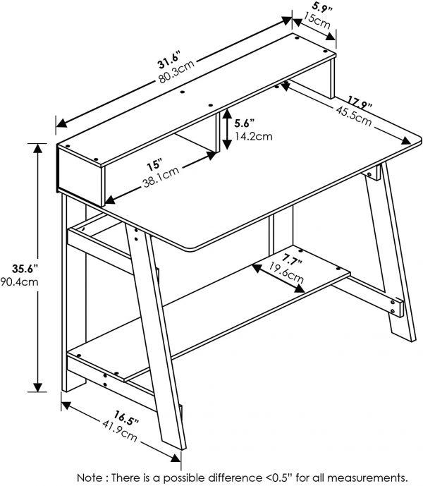 Furinno Simplistic A-Frame Computer Desk, Espresso 3