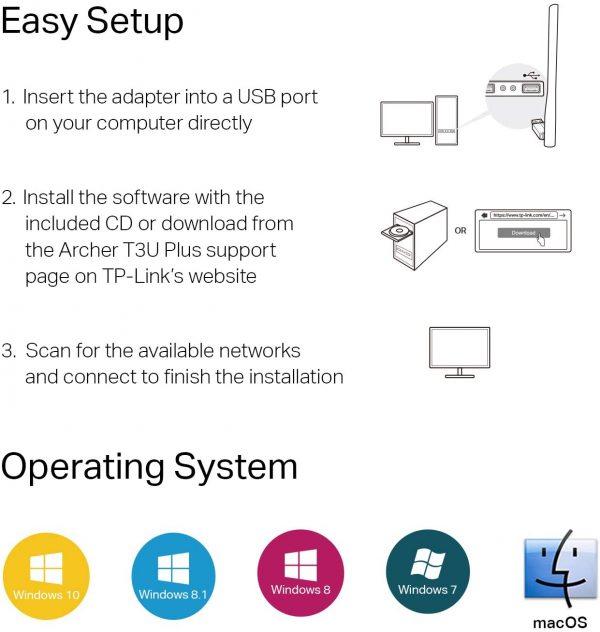 TP-Link USB WiFi Adapter for Desktop PC AC1300Mbps USB 3.0 5