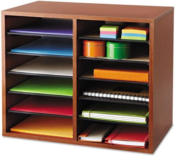 Safco Wood Adjustable Literature Organizer 12 Compartment 1