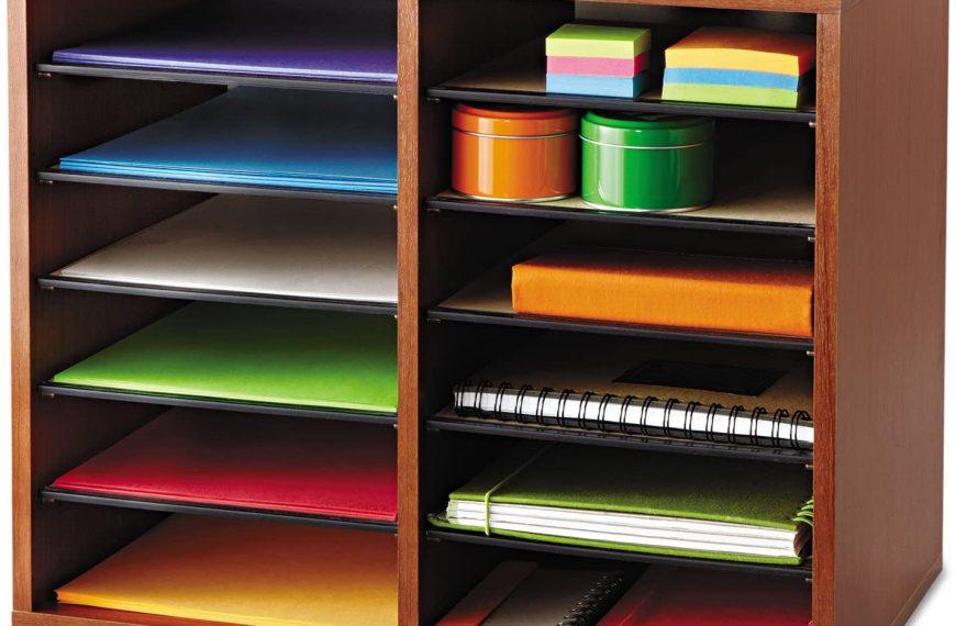 Safco Wood Adjustable Literature Organizer 12 Compartment