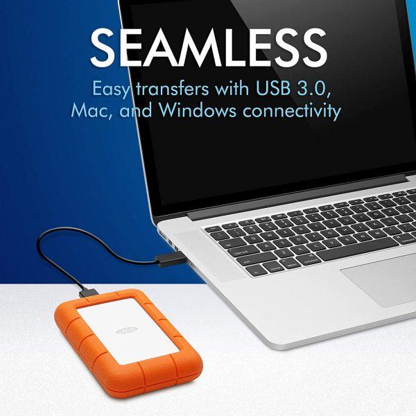 LaCie Rugged Mini 2TB External Hard Drive USB 3.0 3