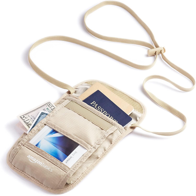 RFID Travel Neck Passport Holder Wallet
